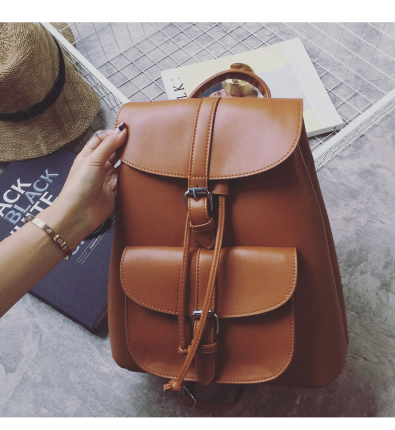 Women Drawstring Leather Backpack Soft French Shoulder Bag Trendy Female School Bag Teenage Girls High Quality Fashion Rucksack