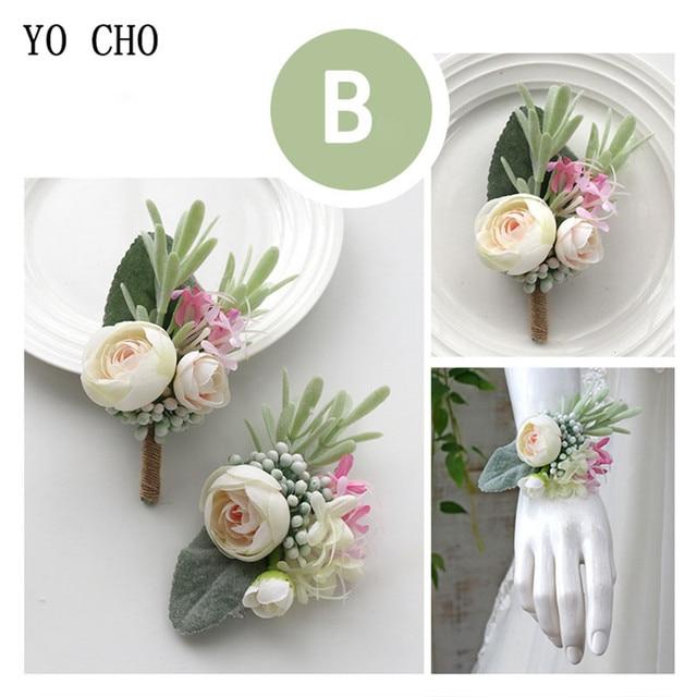 YO CHO Wedding Planner Boutonniere White Wrist Corsage Bracelet Bridal Flower Wedding Boutonniere for Guests Mariage Accessories 3