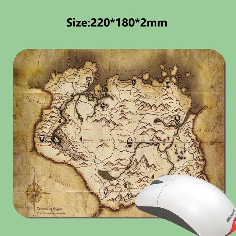 Boyutu 180x22OX2MM Kauçuk oyun mouse pad Skyrim Harita Mouse Pad olduğunu, Mousepad