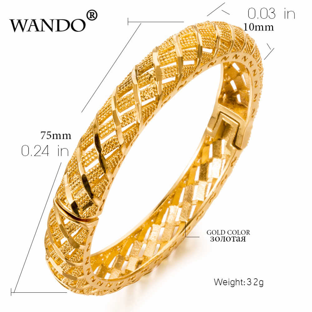 WANDO 2pcs/lot Dubai Gold Bangles For Women 1cm wide Gold Color Bangles&Bracelets Ethiopian/Arab/Middle East Party Gifts B16