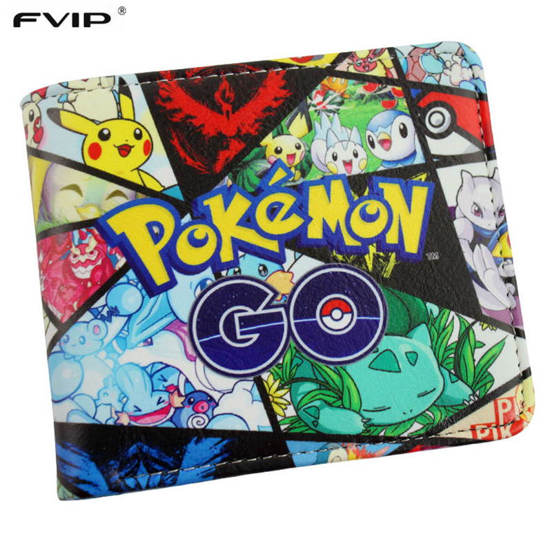 FVIP New Hot Game Pokemon Go Wallet Monster Charizard Pikachu Poke Short  Wallets Bifod Card Holder Purse For Teenagers anime cartoon pocket monster pokemon wallet pikachu wallet leather student money bag card holder purse