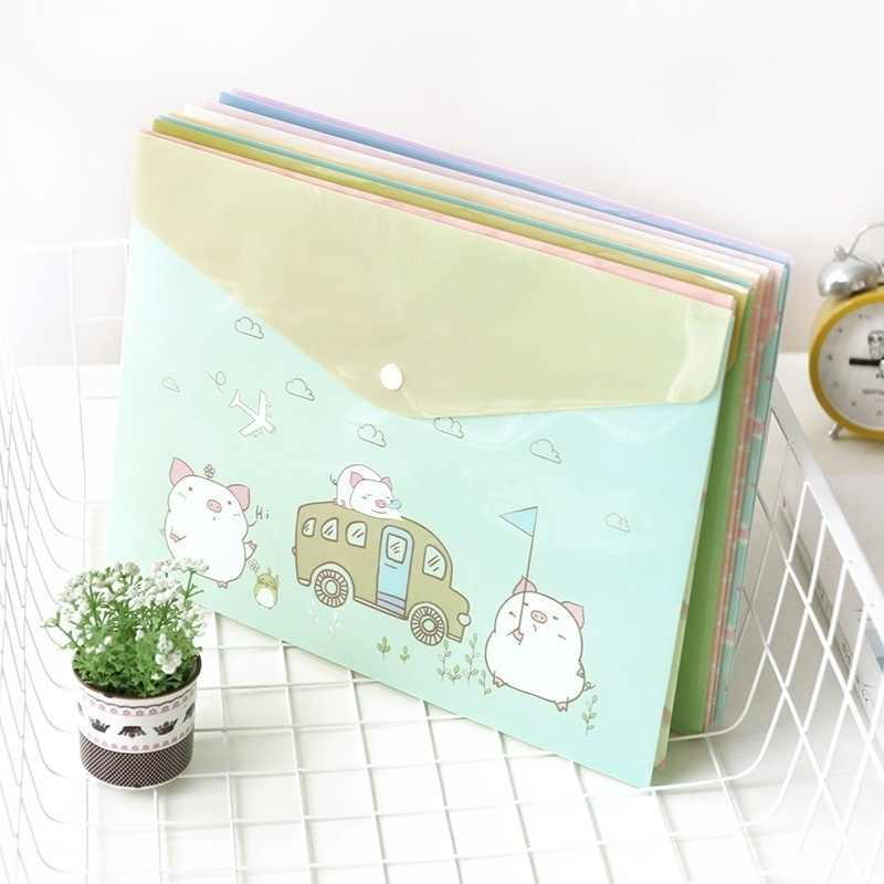 Folders PP File A4 Envelope Buttoned 2pcs Cute Waterproof PVC back to school stationery ZCX7-032-2