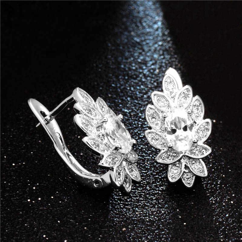 H: HYDE แฟชั่นเลดี้ดอกไม้ Charm Hoop ต่างหู Silver-สี AAA Zirconia คริสตัล Huggie ต่างหูสำหรับผู้หญิงอุปกรณ์เสริม