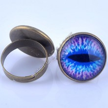 18mm Evil Eye Picture Glass Cabochon Adjustable Ring Vintage Bronze Statements for women Fine Jewelry XY160025(China)