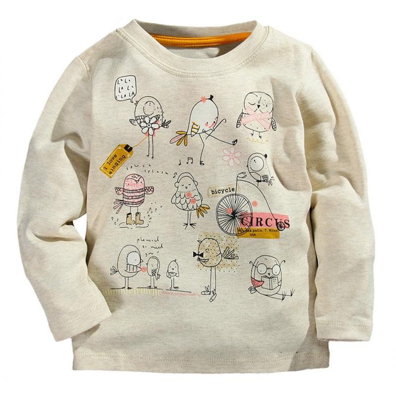 Jesienna zima 100% bawełniana koszulka dziecięca Cartoon Bird z - Ubrania dziecięce