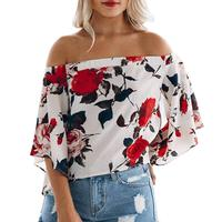 Mooistar #W030 Fashion Women Summer Loose Top Off Shoulder Ladies Casual Tops Shirt Blouse