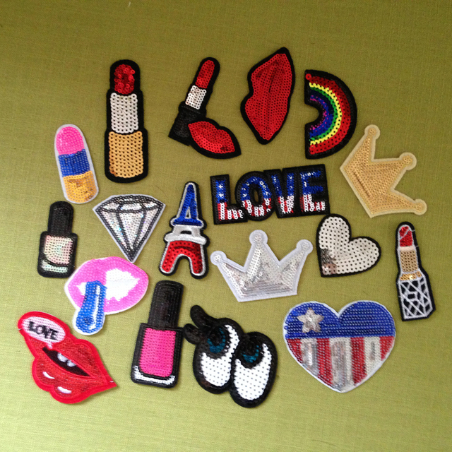 18pcs Patch For Clothing Parches Letter Sequin Patches Lip Lipstick Rainbow Glitter Embroidery Dress Jacket Jeans