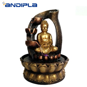 110V-220V Creative Chinese Style Feng Shui Lucky Buddha Statue Figurine Flowing Water Fountain Home Decoration Resin Crafts Gift