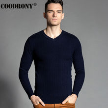 High Quality Winter Thick Warm Knitted Merino Wool Sweater Men 100% Real Cashmere Sweaters Slim Fit V-Neck Pullover Men Top 6306
