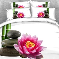 Brand Goldeny 3 Parts Per Set Spa style Bamboo lotus flower and black rocks on white 3d Bedding set Bed Sheet Set