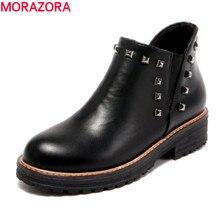 Morazora/Большие размеры 34–43 Осенняя мода Высокое качество PU ботильоны на среднем каблуке с круглым носком однотонные черные обувь на платформе женщина