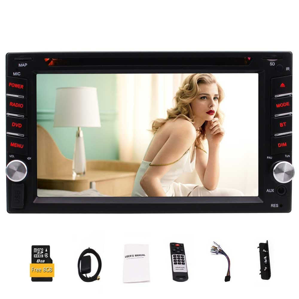 5 points Capacitive Multimedia Touch Screen 2Din Car Stereo with Built In Navigation Bluetooth DVD/US Card 1080P FM/AM/RDS Radio