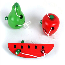 New Montessori Toys Fun Wooden Toy Worm Eat Fruit Apple pear cheese Early Learning Teaching Aid Baby Kids Educational Gifts