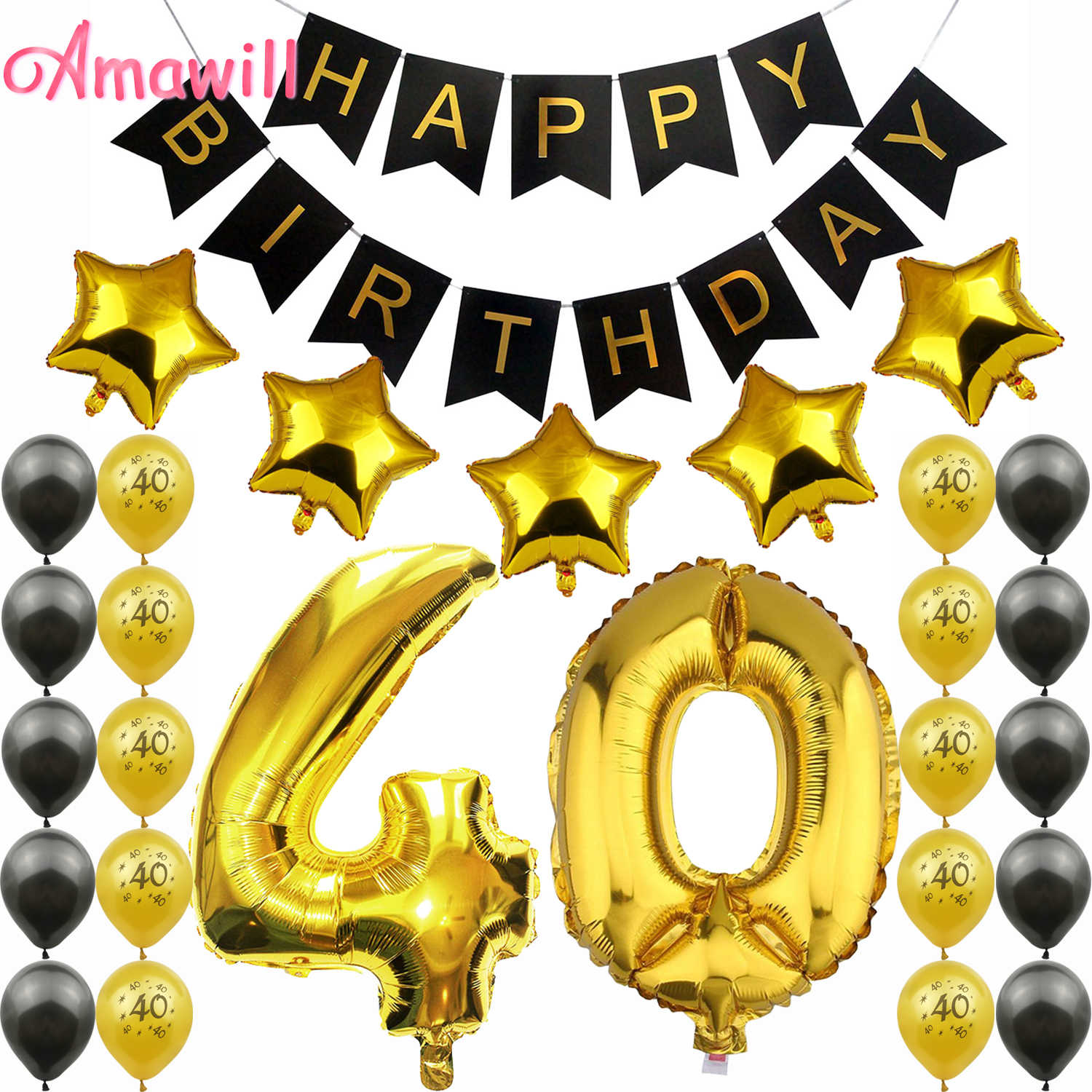 Amawill 40th Birthday Party Decoration Kit Happy Birthday Banner Balloons 32inch Foil Number 40 Years Old Party Supplies 7D