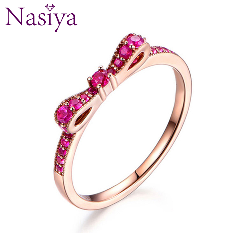 Genuine 925 Sterling Silver Rings For Women Exquisite Spinel Stackable Bow Lover's Ring Wedding Birthday Gift Fashion Jewelry