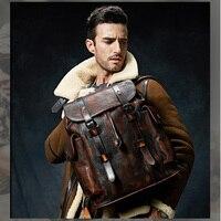 Роскошный мужской рюкзак из коровьей кожи сумка темно коричневый простой Военный стиль дорожная сумка большой емкости ретро
