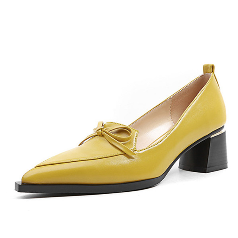 Beige Cuero negro Las 2018 De amarillo Para Tacones Slip Zapatos Pie Mujer Gruesos boda Sexy Mujeres Del Bombas Fedonas Genuino Puntiagudo Fiesta Dedo q1URw