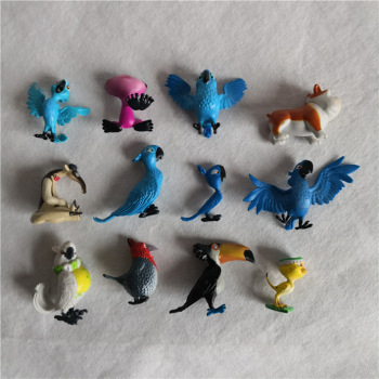 12pcs/lot cartoon animation Rio Adventure Diamond Parrots, Pug Dogs, Ducklings, Ant Eaters model , toys and gits for children animation model sonicomi adult pretty girl model anime girl model beauty model tableware animation hand model toys