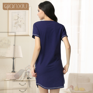 Image 3 - Time limited Pockets Gecelik Qianxiu Cotton Nightgown For Women Knee length Short Sleepwear Summer Casual Nightdress 1656