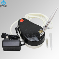OPHIR Single Action Airbrush Kit with DC 12 V Mini Air Compressor Set for Nail Art Makeup Body Paint Tanning _ AC001+AC007
