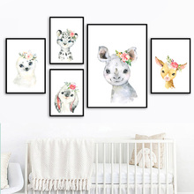 Bunny Bear Monkey Giraffe Hippo Elephant Wall Art Canvas Painting Nordic Posters And Prints Pictures Baby Kids Room Decor