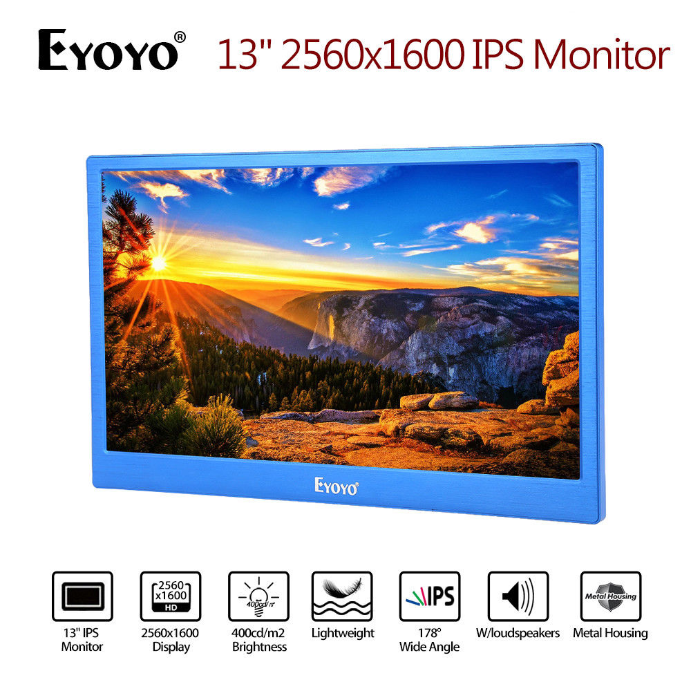 EYOYO 13 2K IPS Monitor 2560x1600 Display Gaming Dual HD 1080P Input Built-in Speakers Blue For PC DVD PS2 PS3 PS4 One Xbox360