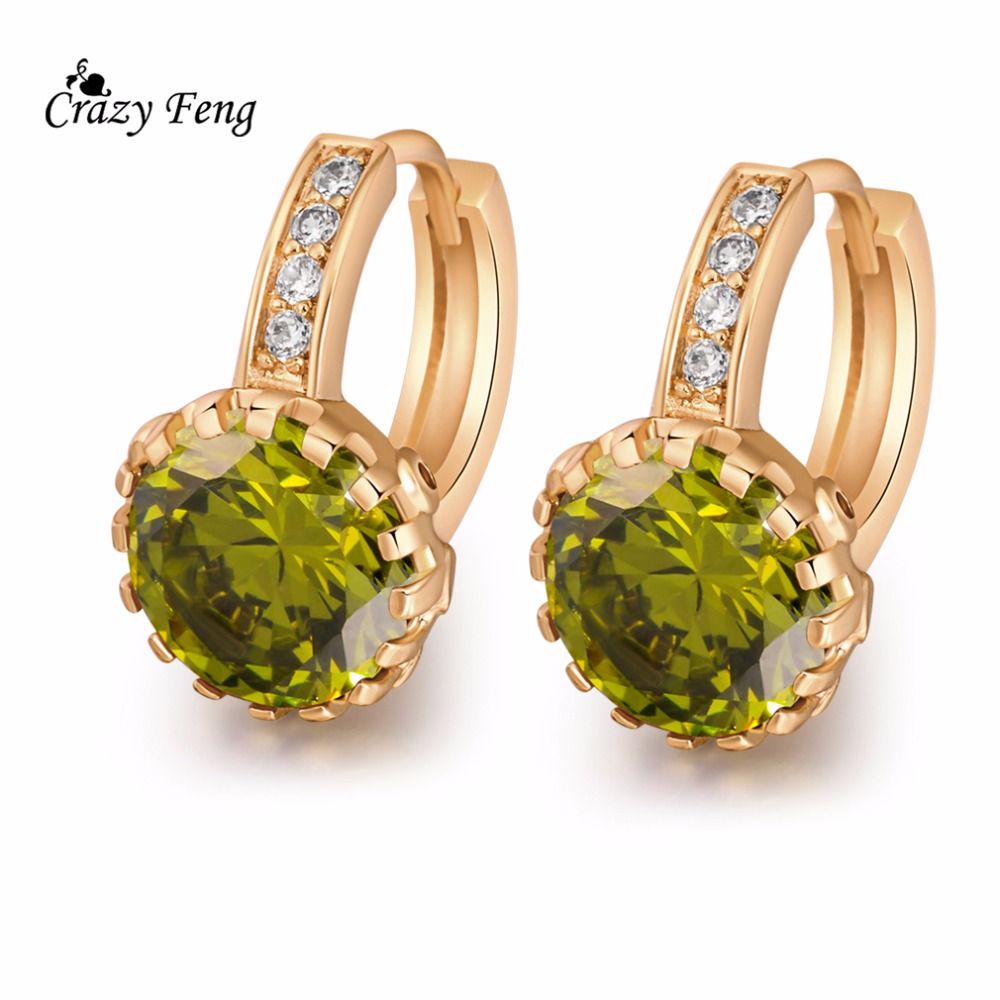 Women Jewelry Olive Green Red Stone Earrings Gold Color Cubic Zirconia  Crystal Vintage Style Earring Rhinestone