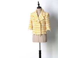 New Coats Jackets luxury white shoulder padded shoulder sleeves medium sleeve small fragrant wind suit jacket.