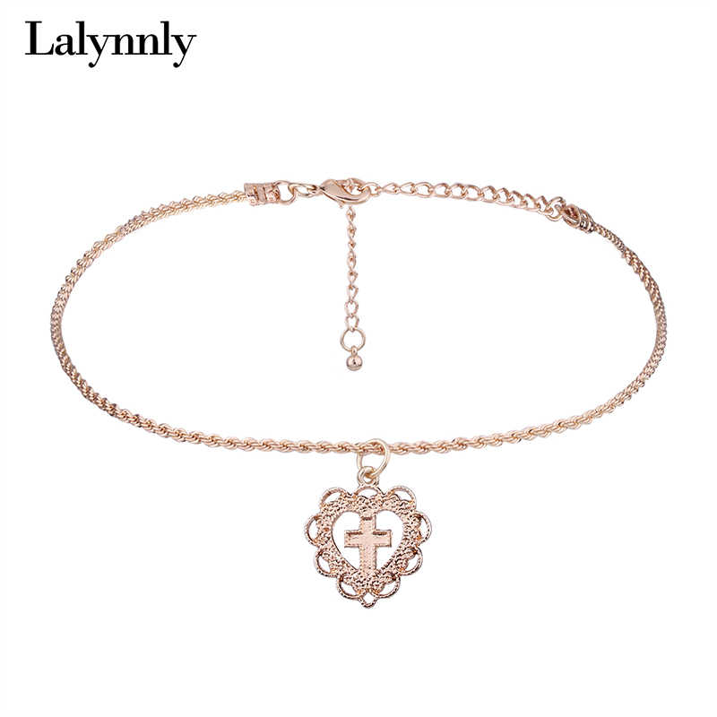 Lalynnly Fashion Heart Choker Necklace Pendant Gold Chain Necklace Cross Choker Necklace for Women Jewelry Gifts 2017 N59481