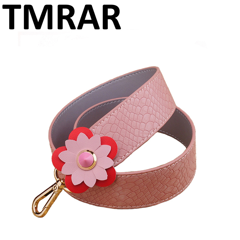 2018 New pu leather belts with flower panelled style design classic bag straps snake trendy shoulder straps for female qn223