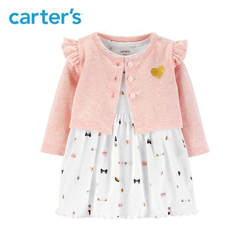 2pcs cute print bodysuit Dress glitter heart Flutter shoulder Cardigan Set Carter's baby girl fall clothing 126H632 letter and stripe print glitter dress