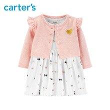 2pcs cute print bodysuit Dress glitter heart Flutter shoulder Cardigan Set Carter s baby girl fall