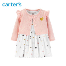 2pcs cute print bodysuit Dress glitter heart Flutter shoulder Cardigan Set Carter's baby girl fall clothing 126H632