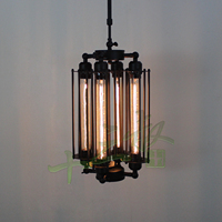 Loft iron pendant light 4 edison bulbs. nightclub industrial Steampunk metal punk lamp Vintage retro deco Lighting Fixture