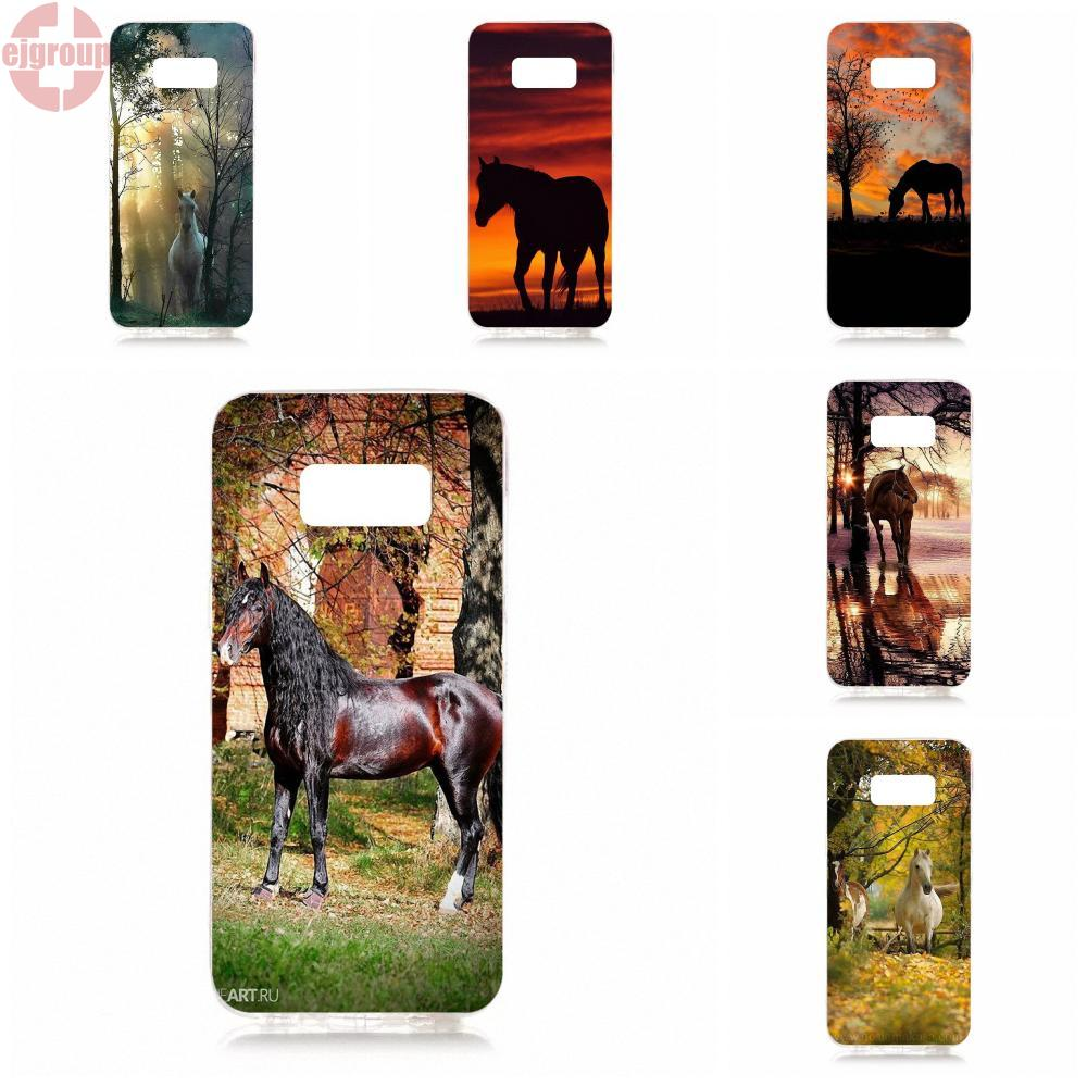 EJGROUP Sunset Horse Tree Birds Soft TPU Silicon Cell Phone Case For Samsung Galaxy S8 5.8 inch G950 G950F SM-G9500