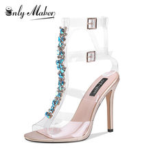 Onlymaker Big Size US15 Ankle Strap Gem Clear Stiletto High Heels Gladiator  Transparent Strip Sandals with a934fab3557a