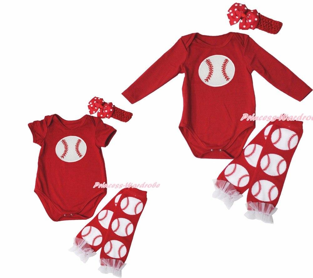 Baseball Ball Sports Red One Piece Baby Girl Bodysuit Jumpsuit Leg Warmer  NB-18M f65d080bbfbe