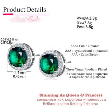 Classic Green Zirconia Stud Earrings Round Crystal Women Multicolor Fashion Jewelry 1
