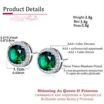 Classic Green Zirconia Stud Earrings Round Crystal Women Multicolor Fashion Jewelry 1