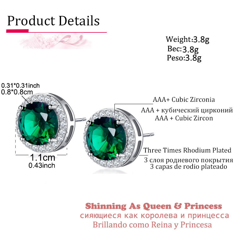 Classic Green AAA Cubic Zirconia Stud Earrings Round Crystal Girl Ear Studs For Women Multicolor Fashion Jewelry brincos AE176 1