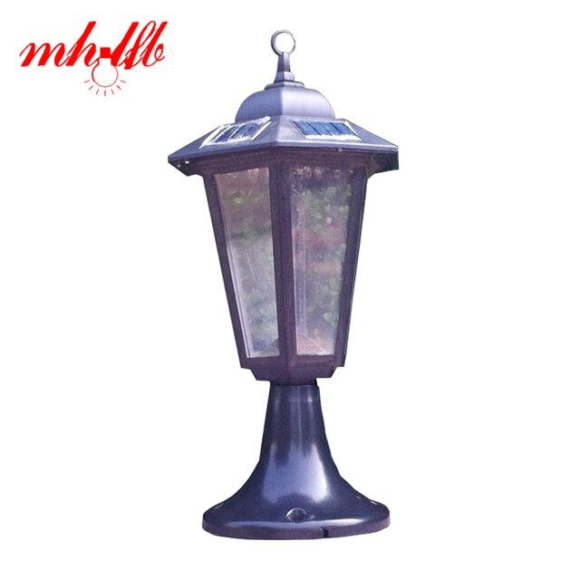 Nouveau Luz LED Panneau Solaire Lampe De Mur de Pilier Vintage