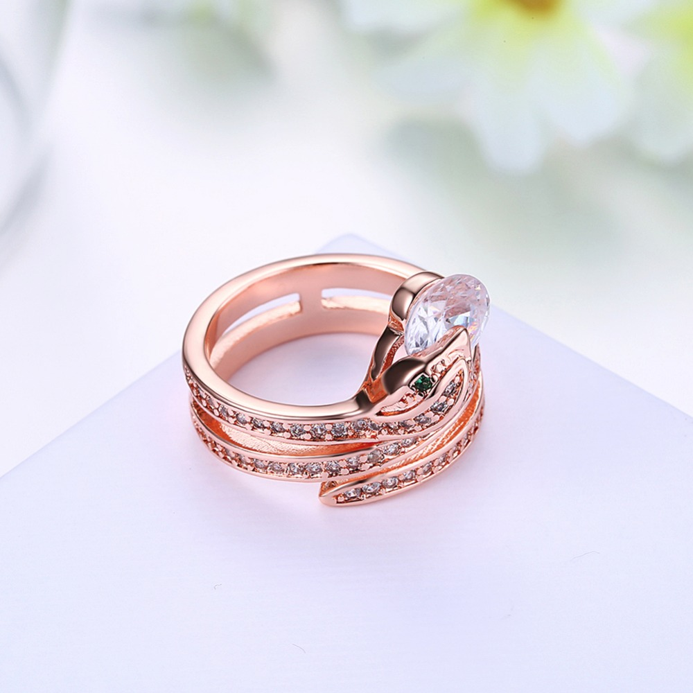 AMOURJOUX Size 8 Snake Charm Rose Gold Color Shiny Zircon Rings For ...