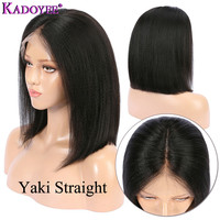 Yaki Straight Lace Front Human Hair Wigs Pre Plucked Brazilian Remy Hair Short Bob Wigs 13x4 Frontal Yaki Wig For Black Women