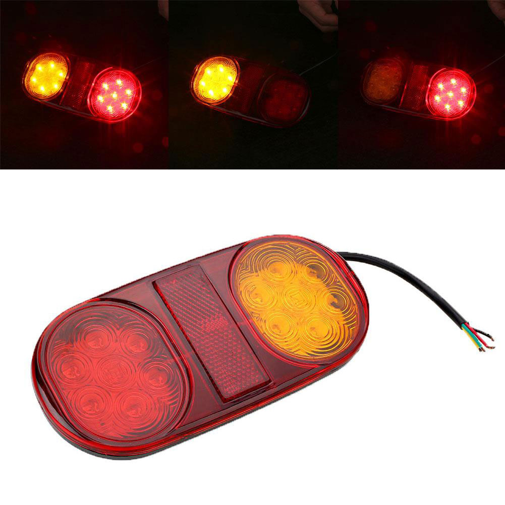 Vehemo Waterproof 14 LED Truck Car Trailer Boat Rear Tail Light Brake Lamp Taillight vehemo vehemo 10 30v 4 led tail number license plate light lamp truck trailer waterproof