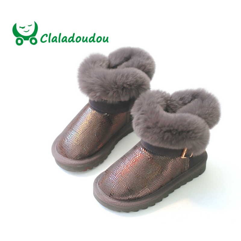 Claladoudou 16.5-23CM Children High Quality Snow Boots Genuine Leather Nature Rabbit Fur Kids Girls Fashion Ankle Boots For Boys