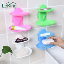 LeKing Kitchen Tools Bathroom Accessories Soap Holder Two Layer Suction Holder Soap Dish Storage Basket Soap Box Stand