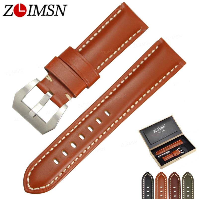 ZLIMSN Genuine Leather Watch Bands Suitable for Panerai Smooth Black Orange Red Green Watch Strap 22 24 26mm Steel Buckle Brush zlimsn men s watch band for panerai 20 22 24 26mm black brown watchband stainless steel buckle wrist belt genuine leather