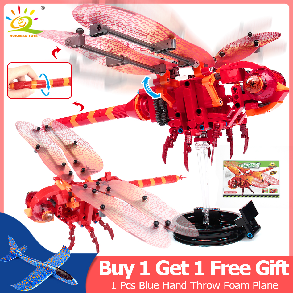 330 piezas simulado de insectos de la libélula roja construcción bloques Compatible Legoingly técnica ladrillos niños juguetes educativos para niños