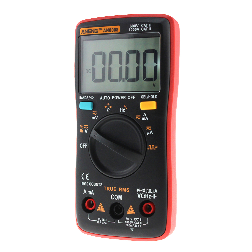 Image 4 - AN8008 Orange True RMS Digital Multimeter 9999 counts transistor tester capacitor tester automotive electrical rm409b clip test-in Multimeters from Tools