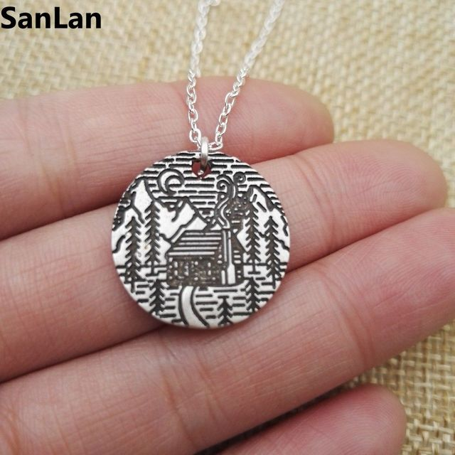 1pcs Lovely Pine Tree cabin scene moon in the mountain necklace camping jewelry simple life Gifts for Campers SanLan
